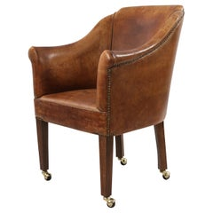 English Georgian Style Brown Leather and Wood Rolling Armchair
