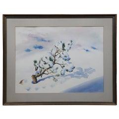 Irene Von Horvath Winter Pine Tree Snow Landscape Watercolor Painting