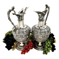 Pair Antique Victorian Sterling Silver Cellini Jugs / Claret Wine Decanters 1863