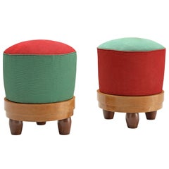 Pair of Colorful Poufs in Green and Red Fabric