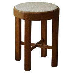 Danish Mid Century Stool in Oak and Reupholstered in Bouclé Wool, ca 1950s