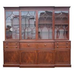 English George III Mahogany Secretaire Breakfront Bookcase