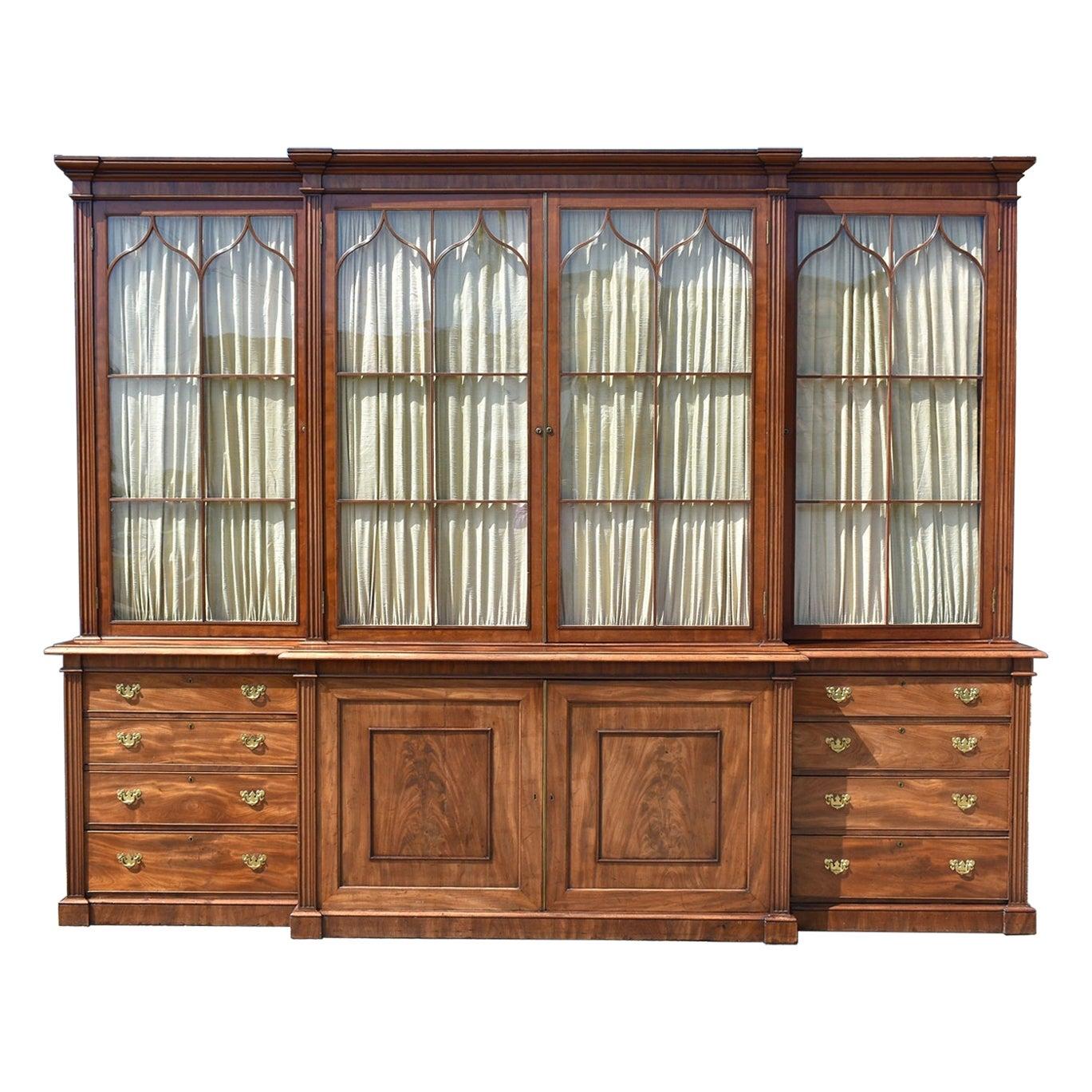 19th Century English George III Mahogany Breakfront Bookcase