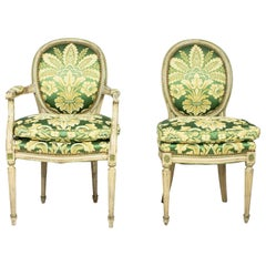 Set of 12 Louis XVI-Style Painted Green Damask Upholstered Dining Chairs
