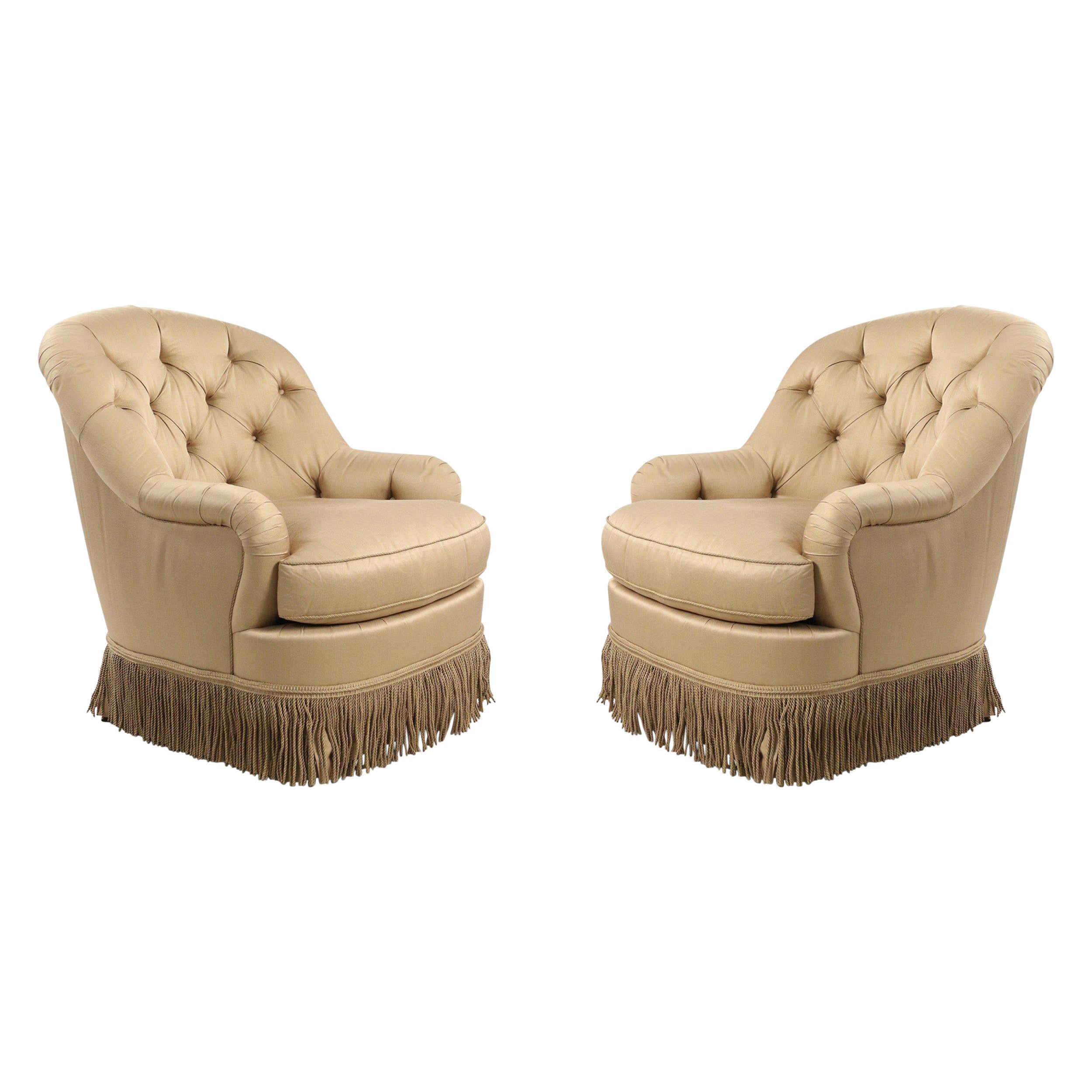 Pair of English Victorian Style Beige Tufted Fringed Tub Armchairs