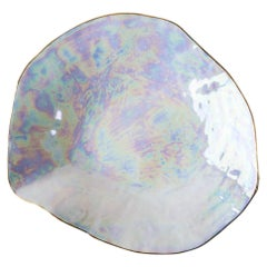 Indulge Nº6/ Iridescent + Golden Rim / Large Plate, Handmade Porcelain Tableware