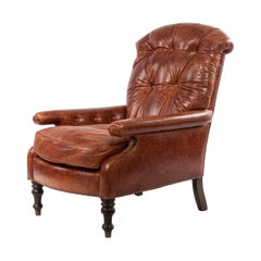 English Victorian Leather Easy Chair