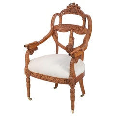 """English Victorian Style Carved Wooden """"Victory"""" Armchair"""