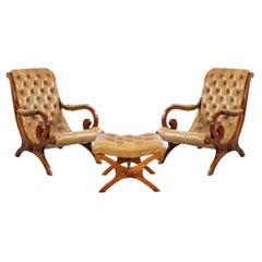 Mahogany Campaign Style 3-Piece Lounge Chair & Ottoman Set