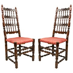 3 English Renaissance Walnut Side Chairs