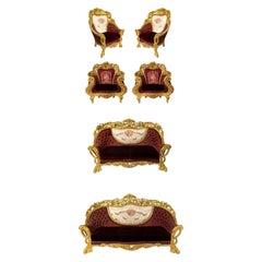 Italian Baroque Burgundy 6-Piece Living Room Set
