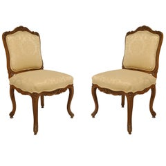 Pair of French Louis XV Walnut Side Chairs