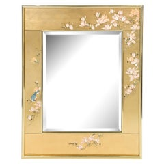 Artisan Reverse Painted Mirror in Gold Leaf with Magnolia Branches 1988 'Signed'