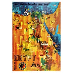 Original Vintage Map Poster Egypt United Arab Airlines Jets Pyramids River Nile