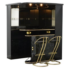 80's Hollywood Regency Style Home Cocktail Bar, Made in Italy