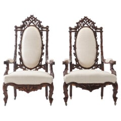 Pair of 19th Century Black Forest Open Armchairs