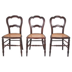 19th Century Victorian Walnut Chairs Set of Three