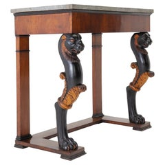 Early 19th Century Walnut Console Table with Marble Top
