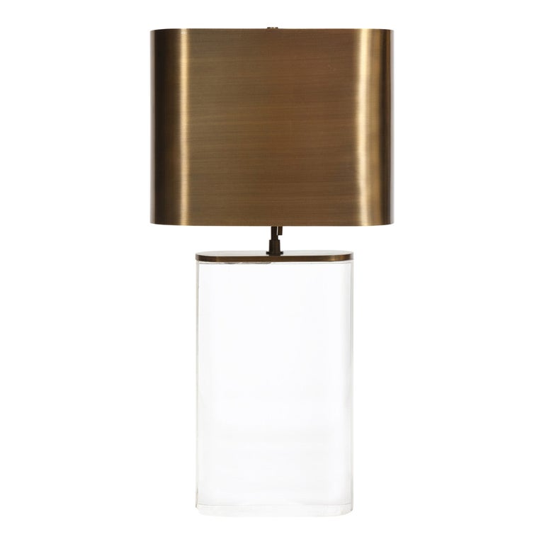 """Karl Springer """"Oval Lucite Table Lamp"""" with Bronze Shade, 1970s"""