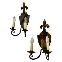 Pair of Wrought Iron Heraldic Shield Shaped Girandole Wall Mirrors