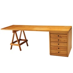 Large Free-Standing Desk with Drawers in Solid Pine