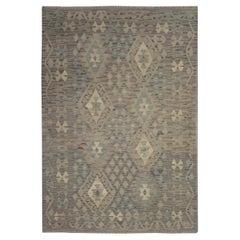 Grey Geometric Kilim Rug Traditional Kilims Carpet Brown Wool Area Rug