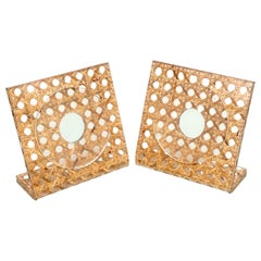 Pair of Lucite & Rattan Squared Picture Frame Christian Dior Style, Italy, 1970s