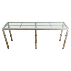 Italian 1970s Chrome & Glass Console with Brass Faux Bamboo Mounts