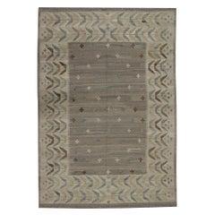 Traditional Kilims Rustic Khaki Brown Kilim Rug Flat Wool Area Rug