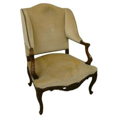 Large Wing Chair in Carved Beech, Louis XV Style, circa 1930