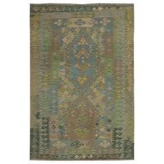 Green Blue Afghan Kilim Area Rug Traditional Carpet Handmade Wool Rug