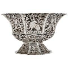 Indian Antique Silver Anthropomorphic Design Bowl with Animals
