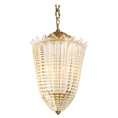 Mid-Century Italian Gold and White Conical Fluted Murano Glass Pendant Light