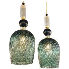 Modern Murano Glass and Brass Pendant Lights