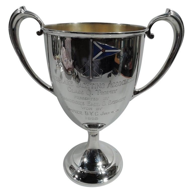 Antique Gorham Edwardian Sterling Silver & Enamel Yacht Trophy Cup For Sale
