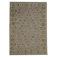 Beige Kilim Rug Traditional Carpet Kilim Scandinavian Style Brown Wool Area Rug