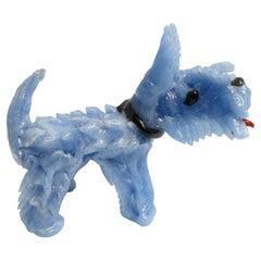 Barovier Toso Murano Light Blue Art Glass Puppy Dog Sculpture, 1970s