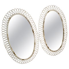 Pair of French Oval Wrought Iron Wall Mirror Antique White distressed Look, 1950