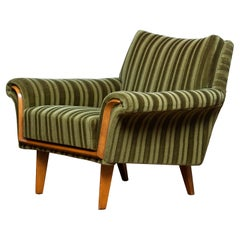 1950 Italian Green Striped Velvet Lounge / Easy / Club Chair with Beech Details
