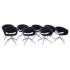 Italian Set of Eight SINA Swivel Chairs in Blue Fabric for B&B Italia