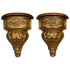Pair of Italian Neoclassical Giltwood Brackets