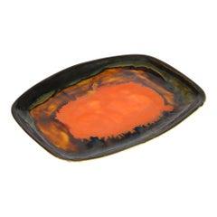 Eric Leaper Newlyn Studio Pottery Orange Glazed Tray or Shallow Dish