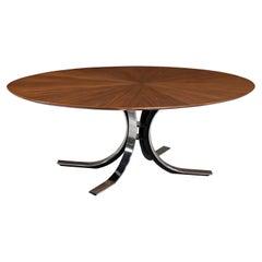 "Stow Davis ""Starburst"" Walnut & Steel Dining Table / Desk"