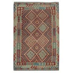 Handmade Kilim Rug Vibrant Geometric Carpet Modern Kilim Rug Wool Area Rug