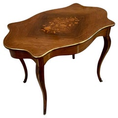 Quality Antique Louis XV French Marquetry Inlaid Center Table