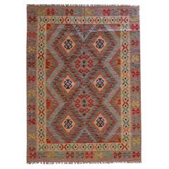 Handwoven Carpet Kilim Area Rug Blue Traditional Geometric Kilim Rug