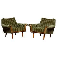 1950's Pair of Italian Green Striped Velvet Lounge / Easy / Club Chair