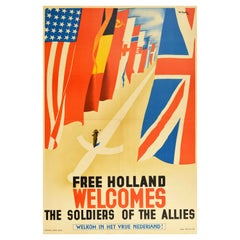 Original Vintage Poster Free Holland Welcomes The Soldiers Of The Allies WWII