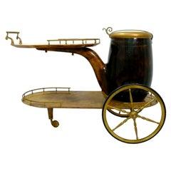 "Trolley Bar Cart Table ""Pipe"" Design Aldo Tura, 1960s"