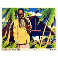 Original Vintage Poster Outposts Of Empire Ceylon General Post Office Sri Lanka